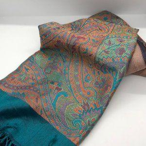 Large Silk Paisley scarf Turquoise, Orange NWT